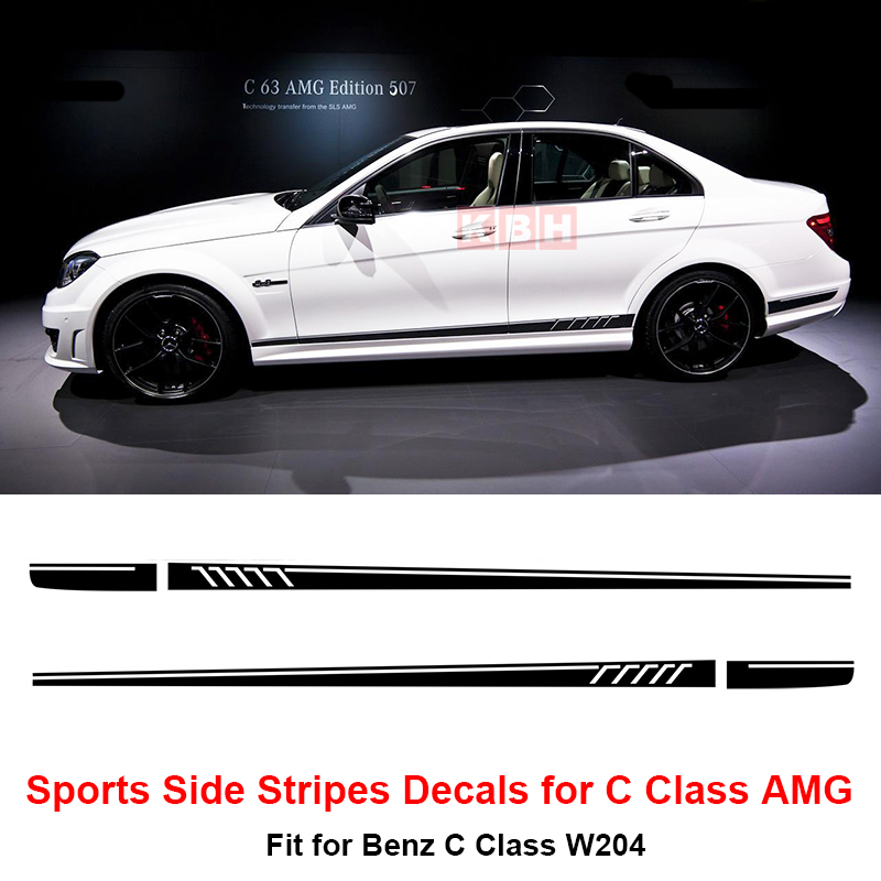 507 Side Stripes Decals Sticker For Mercedes Benz W204 C Class Amg