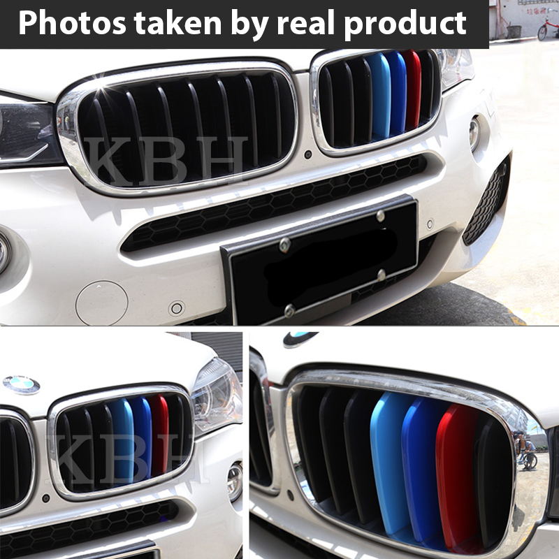 M Color Kidney Grille Bar Cover Decal Stripe Clips For BMW