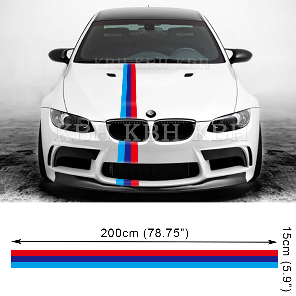 M Performance 3 Colors Hood Decal Stripe Sticker For Bmw