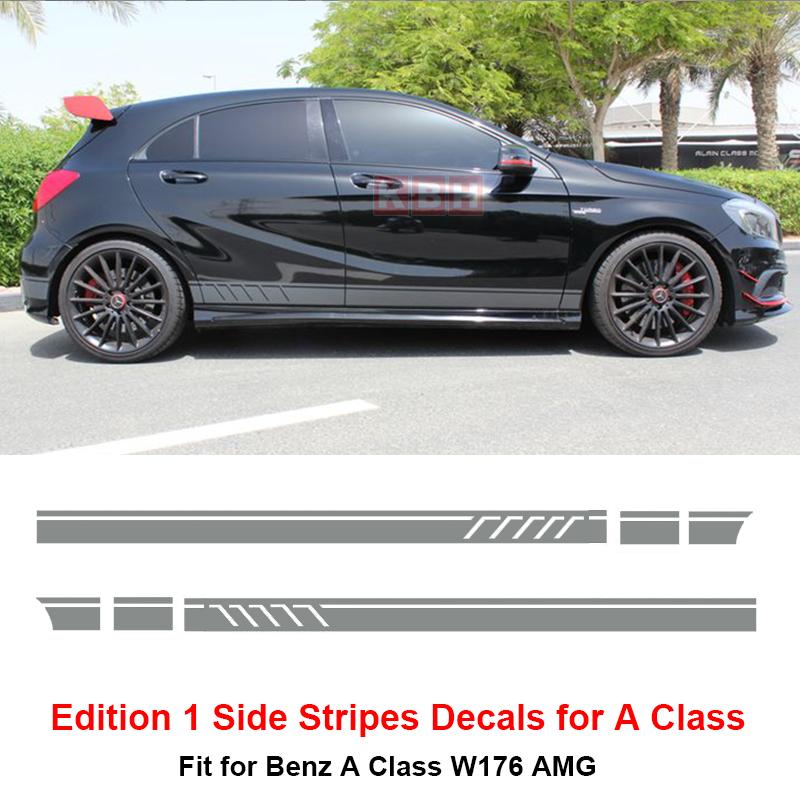Graphics Vinyl Sticker Decal Fit For Mercedes-Benz A180 A200 Door Stripes 2 PCS