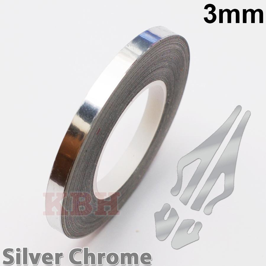 "1//8/"" Roll Vinyl Pinstriping Pin Stripe Soild Line Tape Sticker 3mm CHROME SILVER"