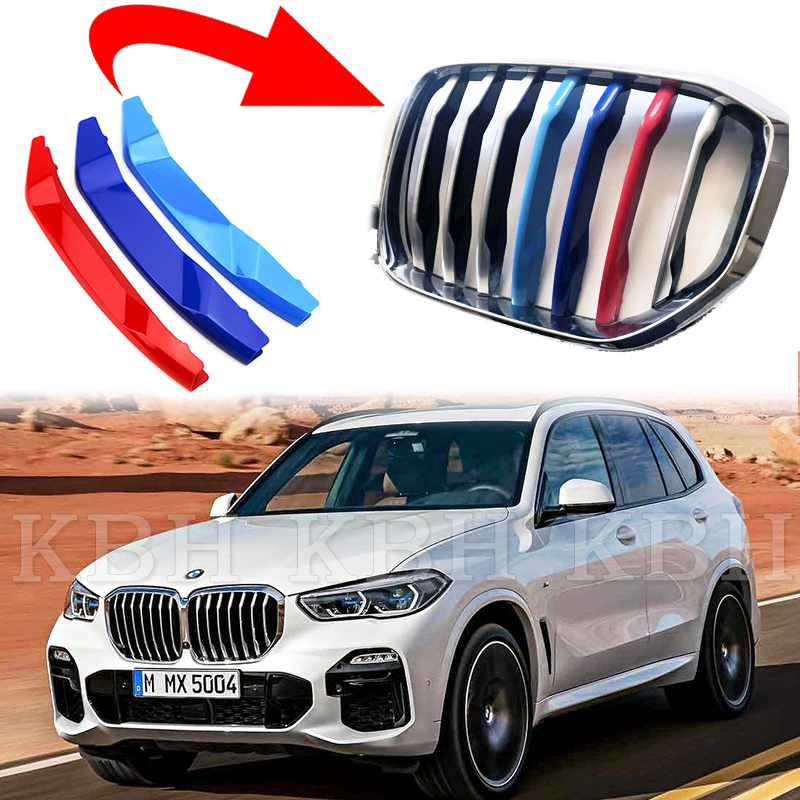 3 color For BMW X5 F15 2014-2017 M Sports Front Grille Grill Stripes Cover Trim
