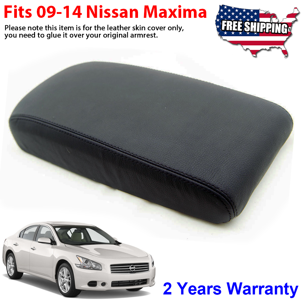 Fits 09-14 Acura TSX Synthetic Leather Armrest Center Console Lid Cover Black