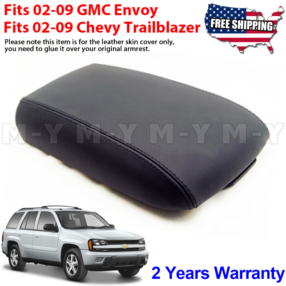 Leather Console Lid Armrest Cover Fit 2002-2009 Chevy Trailblazer GMC Envoy Gray