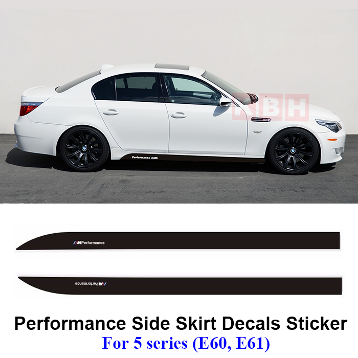 2pcs m performance side skirt sill stripe decal sticker. Black Bedroom Furniture Sets. Home Design Ideas