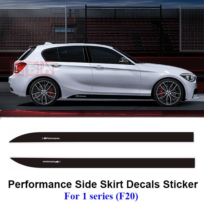 Pair 2.15M Sport M Performance Car Side Skirt Body Stripe Stickers  Matte Black