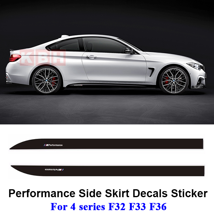 2pcs M Performance Side Skirt Sill Decal Stripe Sticker