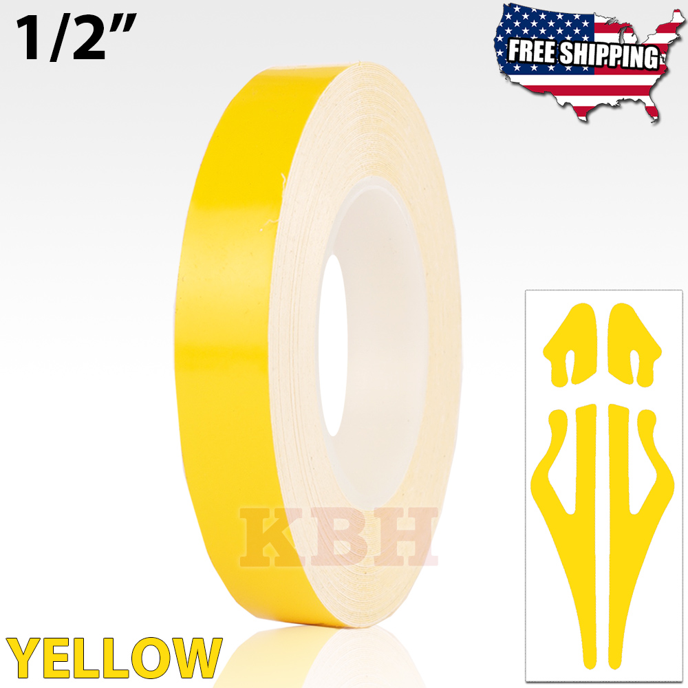 """12mm 1//2/"""" Pin Stripe Pinstriping Solid Line Tape Vinyl Decal Sticker Car Yellow"""